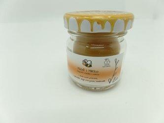Świeca w słoiku z wosku pszczelego miód i mleko 40 ml