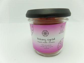 Świeca w słoiku z wosku pszczelego różany ogród 120 ml