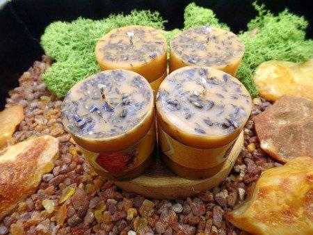Ekologiczna świeca z wosku pszczelego z lawendą i cytrusami