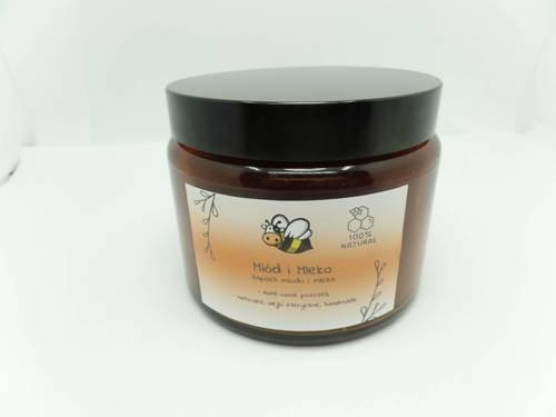 Świeca w słoiku z wosku pszczelego miód i mleko 500 ml