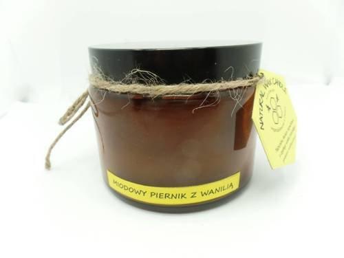 Świeca w słoiku z wosku pszczelego miodowy piernik z wanilią 500 ml