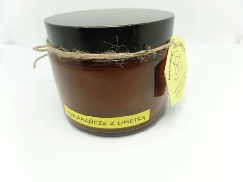 Świeca w słoiku z wosku pszczelego pomarańcze z limetką 500 ml
