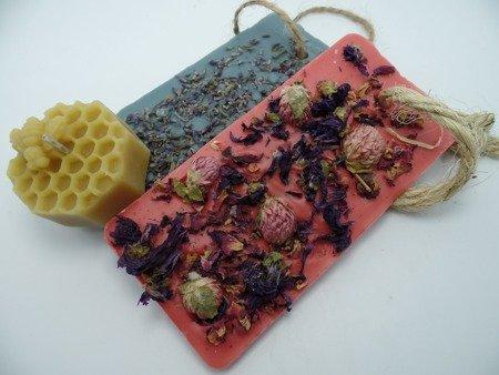 Zestaw dwóch tabliczek zapachowych + świeca z wosku pszczelego
